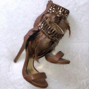 BEBE feather stiletto heels